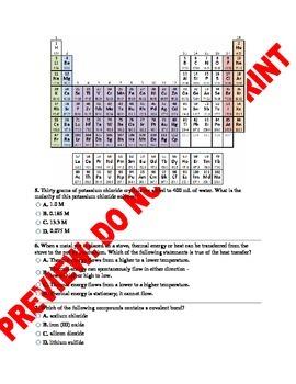 Chemistry Benchmark Assessment