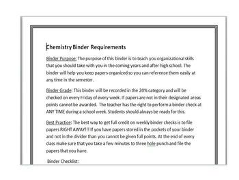 Chemistry Binder Requirements