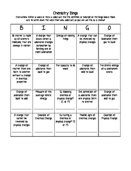 Chemistry Bingo: Chemical vs. Physical Changes and Matter & Energy
