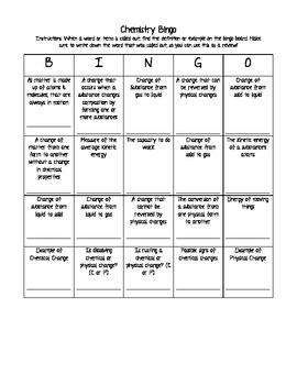Chemistry Bingo: Chemical vs. Physical Changes and Matter