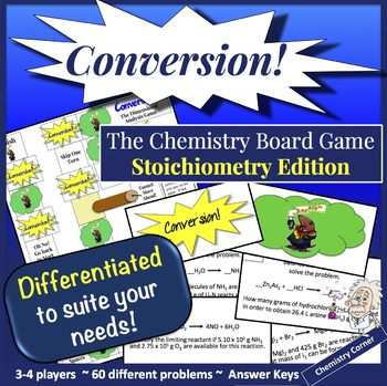 Chemistry Board Game—Conversion! Stoichiometry Edition