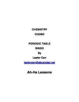 Chemistry CHEMO -- Periodic Table Bingo