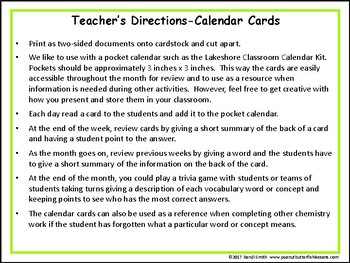 Chemistry Vocabulary Concept of the Day Cards