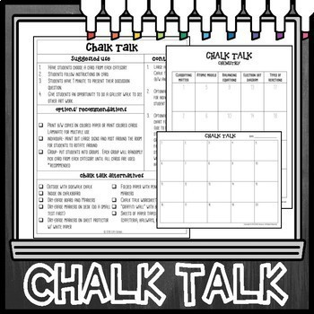 Chemistry Chalk Talk Task Cards