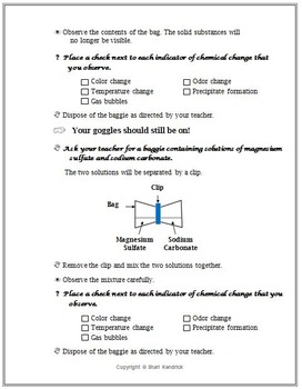 Chemistry Changes & Properties of Matter Guided Inquiry Lesson