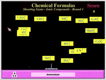 Chemistry - Chemical Formulas Game Software - PC & MAC Flash Version
