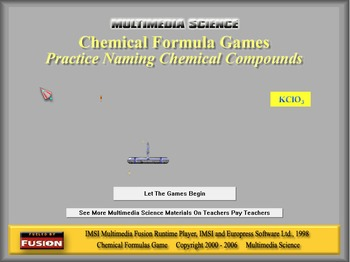Chemistry - Chemical Formulas Game Software - PC & MAC Fla
