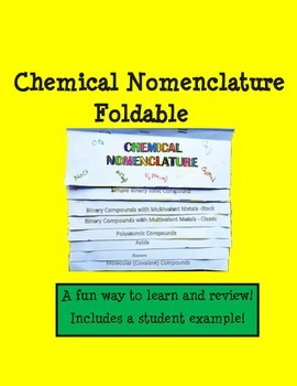 Chemistry - Chemical Nomenclature - Foldable  REVISED!!!!!