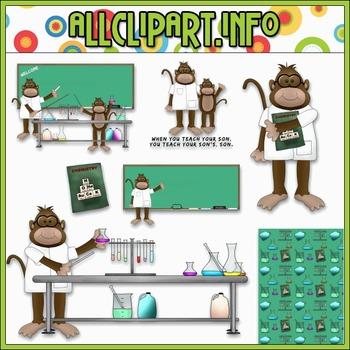 $1.00 BARGAIN BIN - Chemistry Class Monkeys Clip Art
