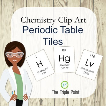 Chemistry Clip Art: 118 Periodic Table Tiles (including atomic mass)