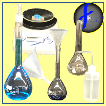 Chemistry Clip Art - Making a Stock Solution (flask, balance, funnel, etc.)