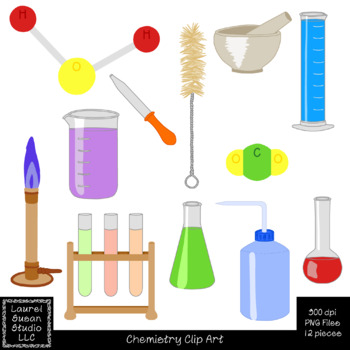 Chemistry Clip Art PNG JPG Commercial Personal Beakers Molecules Test Tubes Lab