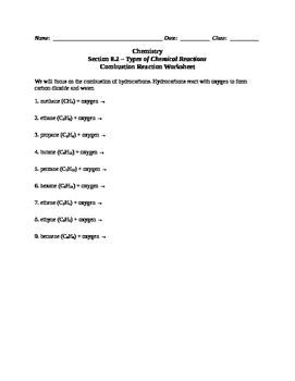 Chemistry - Complete Combustion Reaction Worksheet