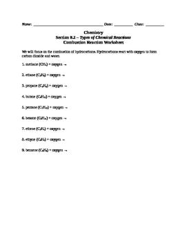 Chemistry - Complete Combustion Reaction Worksheet