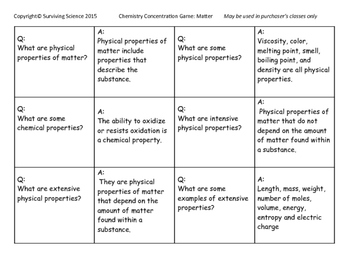 Chemistry Concentration Games Full Year Set (16 Games)