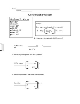 Chemistry Conversions Worksheet