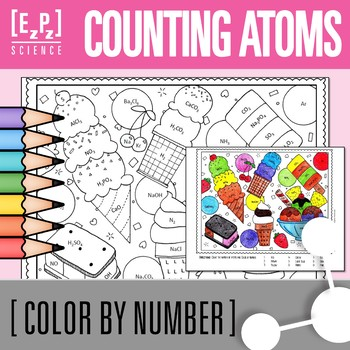 Chemistry Counting Atoms- Color by Number Ice Cream