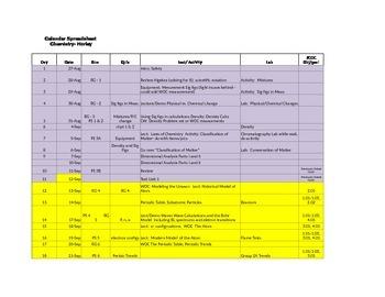 Chemistry Course Calendar