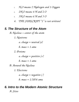 Chemistry Course Outline Notes