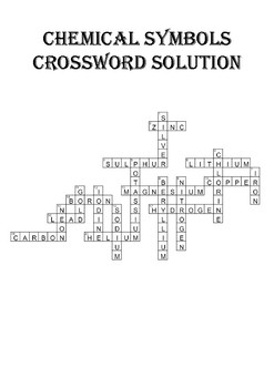 Chemistry Crossword Puzzle: Chemical Symbols (Includes answer key)