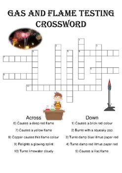 Chemistry Crossword Puzzle: Gas and flame tests (Includes answer key)