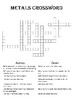 Chemistry Crossword Puzzle: Metals  (Includes answer key)