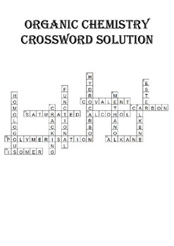 Chemistry Crossword Puzzle: Organic Chemistry (Includes answer key)
