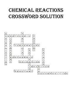 Chemistry Crossword Puzzle: Chemical reactions (Includes answer key)