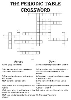 Chemistry crossword puzzle the periodic table includes answer key urtaz Image collections
