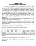 Chemistry Density Lab Thickness of Al Foil