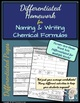Chemistry: Differentiated Homework- Naming & Writing Chemical Formulas