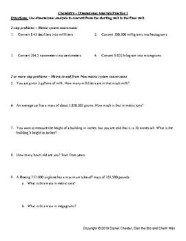 Chemistry - Dimensional Analysis Practice 2