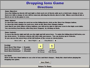 Chemistry - Dropping Ions Game Software - PC & MAC Flash Version