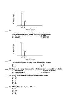 Chemistry End of Course Study Guide #2