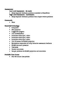 Chemistry - Equilibrium Block Schedule Lesson Plan