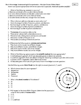 Chemistry Exam - Adapted & Comprehensive AP/IB Model based on Bloom's Taxonomy