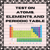 Chemistry Test Questions on Atoms, Elements, and Periodic Table