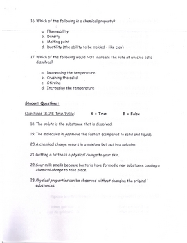 Chemistry Exam MS School Physical Science Part 1
