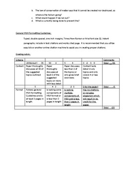 Chemistry Extension Project Research Paper