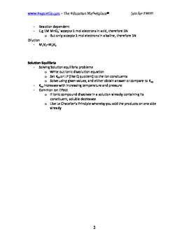 Chemistry Fast Facts - Nature of Solutions (Handout / Study Aid)