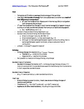 Chemistry Fast Facts - Principles of Thermochemistry (Handout / Study Aid)