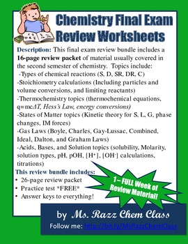 Chemistry Final Exam Review Worksheets