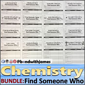 Chemistry Find Someone Who (Atoms, Periodic Table, Stoichiometry, & More) BUNDLE