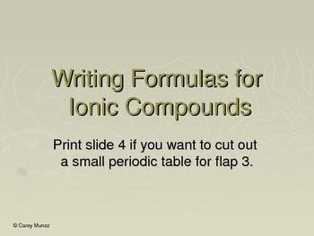 Chemistry Flip Notes:  Writing Ionic Formulas