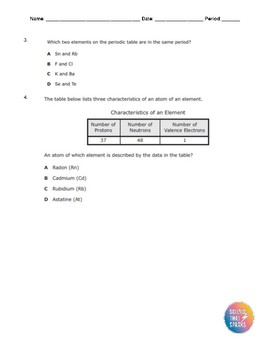 Chemistry Formative Assessment Questions