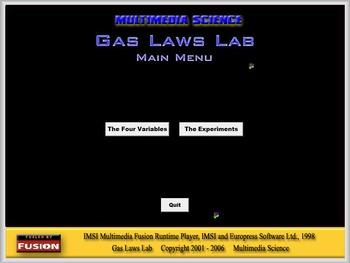Chemistry - Gas Laws Lab Software - PC & MAC Flash Version