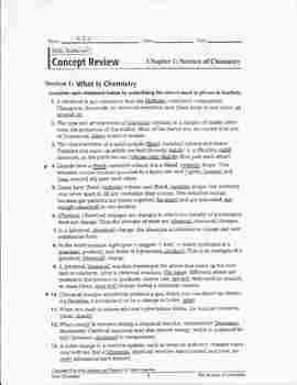 Chemistry-Holt (2006): Chapter 1 - Concept Review Key with Detailed Calculations