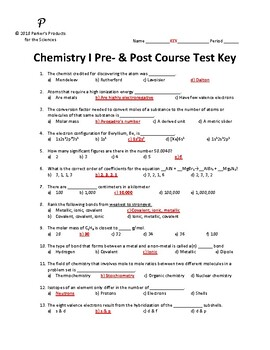Chemistry I Pre- and Post-Course Cumulative Test / Summative Assessment
