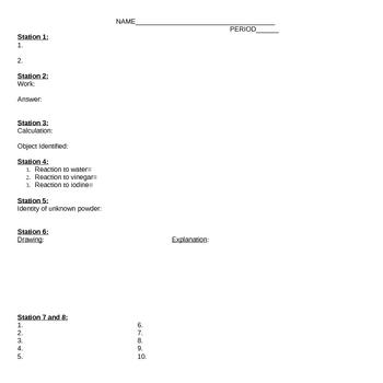 Chemistry Individual Lab Test