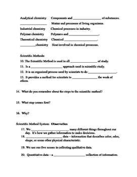 Chemistry Introduction continued L1.2 Method Worksheet